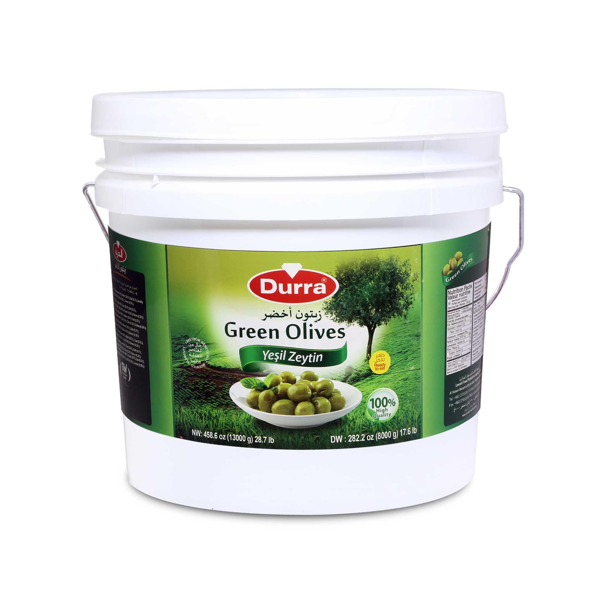 زيتون أخضر حلبي سطل بلاستيك 8000 غ